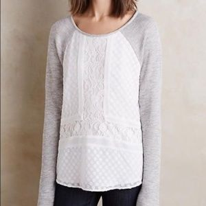 Anthro Sundays in Brooklyn French Terry Lace Top